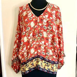 Tolani Silk Floral Kimono Sleeve Top Blouse Tunic